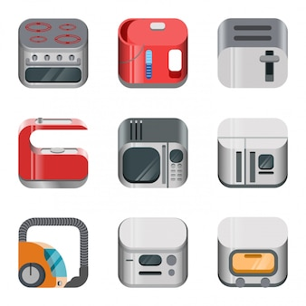 Home electronics glossy app dashboard icon  set. stylish modern mobile web application collection. oven kettle hoover vacuum cleaner fridge refrigerator toaster microwave machine bread maker.