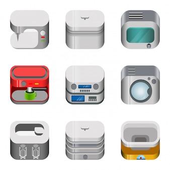 가전 제품 광택 응용 프로그램 대시 보드 아이콘을 설정합니다. 세련 된 현대 모바일 웹 응용 프로그램 아이콘 모음. 재봉 커피 양조 기계 전자 레인지 믹서 무게 재봉.