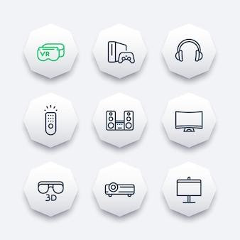 ホームエンターテインメントシステムのラインアイコンセット、バーチャルリアリティグラス、マルチメディアプロジェクター、3dビデオ、湾曲したテレビ、オーディオスピーカー、ヘッドセット、ゲーム機、ベクターイラスト