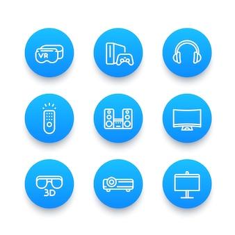 ホームエンターテインメントシステムリニアブルーアイコンセット、バーチャルリアリティグラス、マルチメディアプロジェクター、3d、オーディオスピーカー、ゲーム機