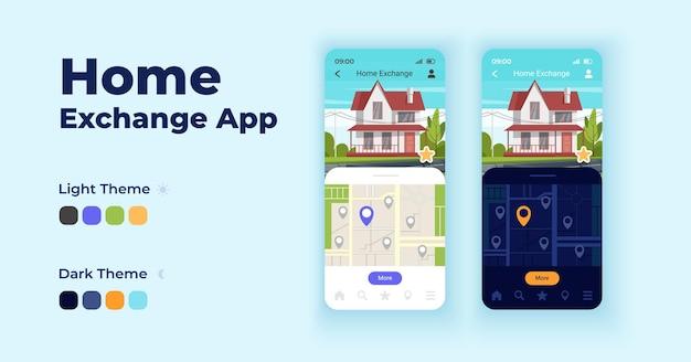 홈 교환 만화 스마트폰 인터페이스 벡터 템플릿 집합입니다. 모바일 앱 화면 페이지 밤낮 모드 디자인. 응용 프로그램에 적합한 거주 ui 선택. 평면 문자가 있는 전화 디스플레이