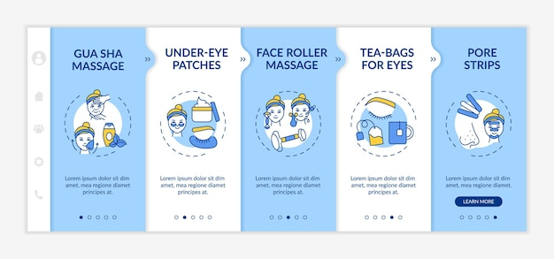 At-home facial treatment procedures onboarding  template. under-eye patches. tea-bags for eyes. responsive mobile website with icons. webpage walkthrough step screens. rgb color concept