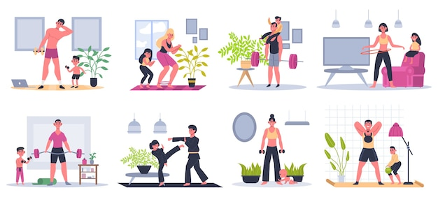 가정 가족 피트니스. 어머니, 아버지와 집에서 운동하는 아이, 운동 활동, 가족 건강한 라이프 스타일 일러스트 세트. 가족 운동 훈련, 엄마와 아이들의 건강한 운동