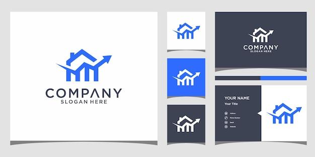 Дизайн домашнего финансового логотипа с шаблоном визитной карточки