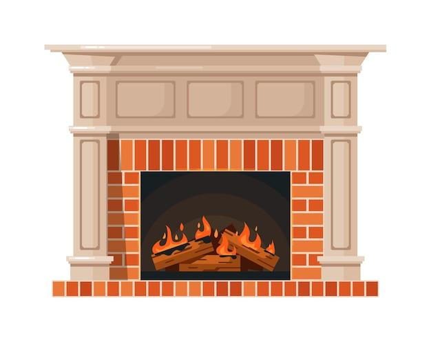 Домашний камин и горящий огонь, изолированные на белом фоне