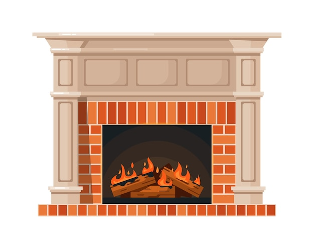 Home fireplace and burning fire isolated on white background