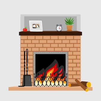 Home fireplace with decoration of family photo