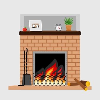 家族の写真の装飾が施された家の暖炉 Premiumベクター
