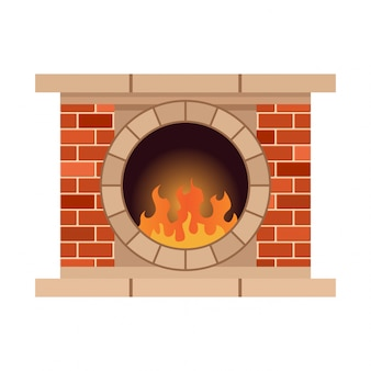 Домашний камин с огнем. старинный дизайн каменной печи с камином. плоский дизайн иконок. иллюстрация на белом фоне