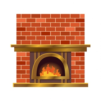 Home fireplace with fire. vintage design of stone oven with fireside. flat icon design. illustration isolated on white background