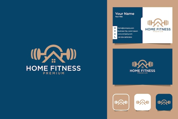 Home fitness elegant logo design and business card