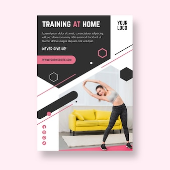 Шаблон флаера для домашнего фитнеса