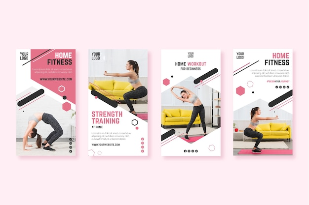 Home fitness instagram stories template