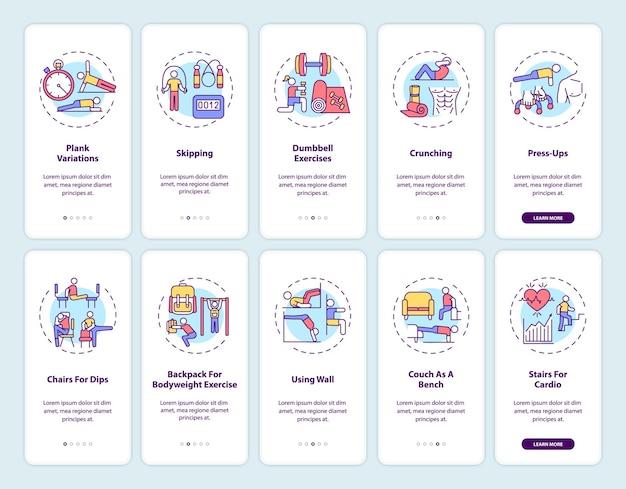 Домашний фитнес онлайн экран страницы мобильного приложения с набором концепций. прохождение альтернативных упражнений в тренажерном зале, 5 шагов, шаблон пользовательского интерфейса с цветными иллюстрациями rgb