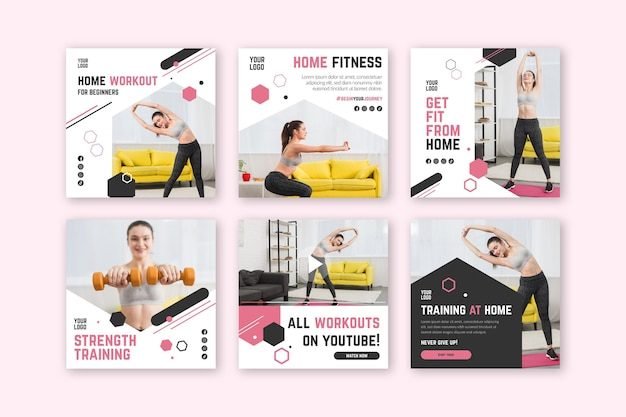 Home fitness poster template