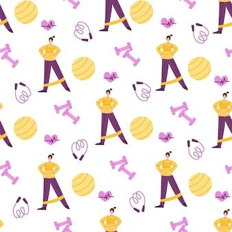 홈 피트니스 원활한 패턴 실내 운동 개념, 여성 캐릭터 및 스포츠 장비