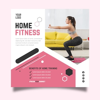 Home fitness square flyer template