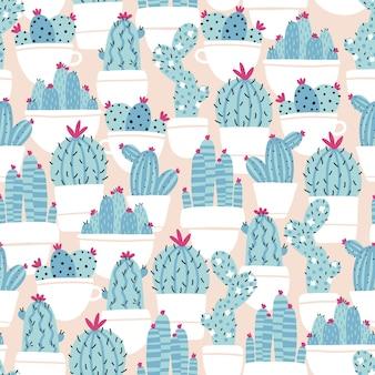 화분에 집에서 꽃을 피우는 식물 선인장과 다육식물. 벡터 완벽 한 패턴입니다. 트렌디한 손으로 그린 스칸디나비아 만화 낙서 스타일. 최소한의 파스텔 팔레트입니다.