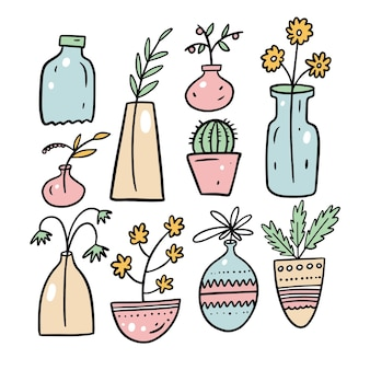 Home flowers drawing cartoon style. colorful vector illustration isolated on white background.