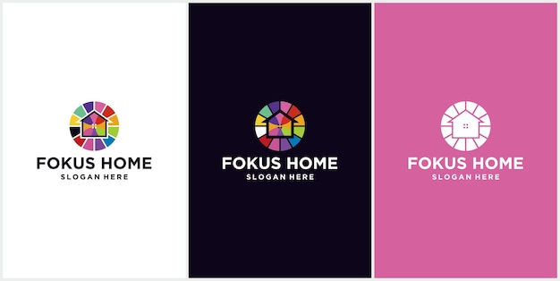 홈 포커스 다채로운 현대 로고 아이콘 홈 디자인, 대상 홈 디자인 로고 템플릿의 벡터 일러스트 레이 션. 목표 표시와 결합 된 집