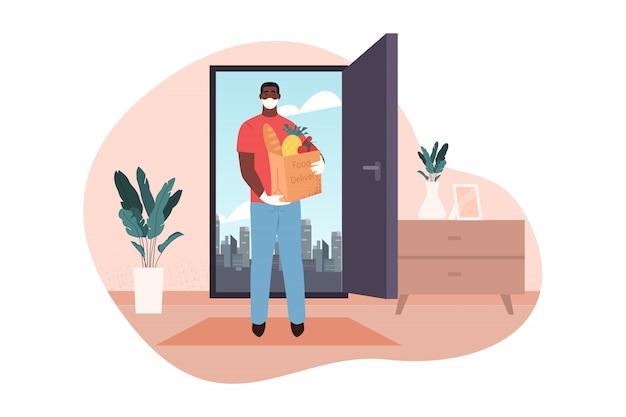 Home, food delivery, quarantine, 2019ncov, infection, covid19, coronavirus concept