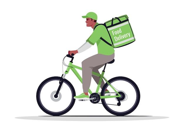 宅配セミフラットrgbカラーベクトルイラスト。輸送中のアフリカ系アメリカ人の宅配便。白い背景の上の緑の制服孤立した漫画のキャラクターの自転車の配達人