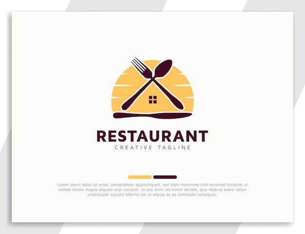 Home food logo design with spoon, fork, and kitchen knife