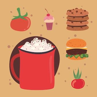 Домашняя еда шесть иконок