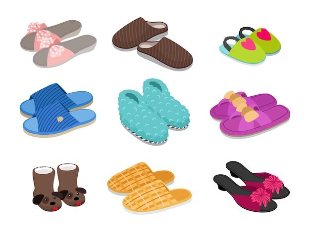 가정용 신발. 귀여운 편안한 슬리퍼, 손으로 그린 모피 신발, 아늑한 샌들, 흰색 배경에 격리된 가정이나 호텔용 신발의 벡터 그림