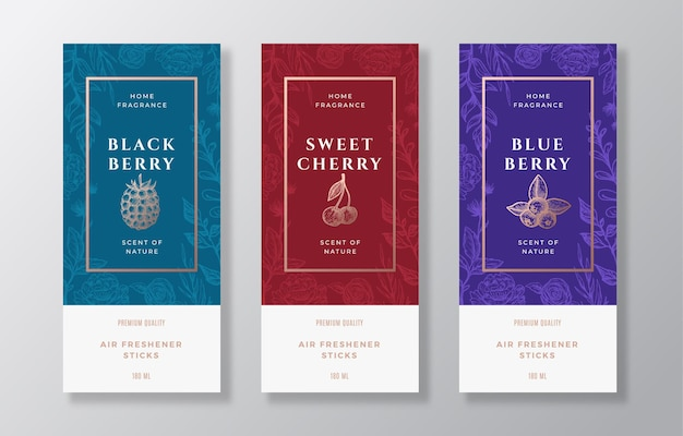 Home fragrance vector label templates set. hand drawn sketch blackberry, blueberry, cherry and flowers background with typography. room perfume packaging design layout. realistic mockup. isolated.
