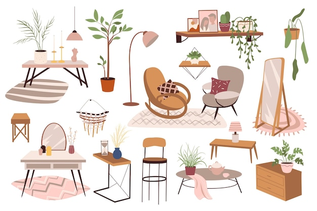家の家具と装飾分離要素セット