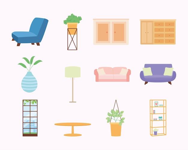 家の家具および装飾セット