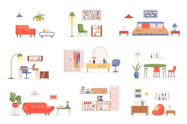 Home furniture bundle of flat scenes creator kit