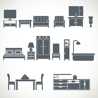 Home furniture design blackicons set