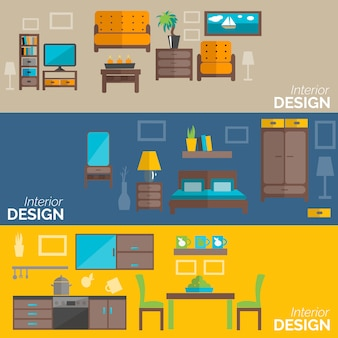 Home furniture design flat banners set