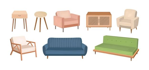 家の家具の要素はイラストを設定します