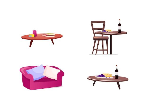 Набор плоских цветных объектов домашней мебели. диван и подушки. блюдо сыра и винограда с бутылкой вина на столе. изолированный мультфильм