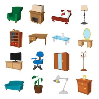 家の家具のアイコンを設定します。ウェブ用の家の家具のアイコンの漫画セット