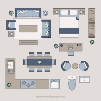 Home furniture in top view