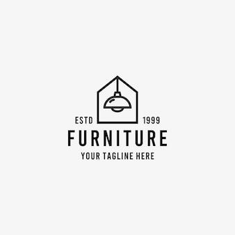 Home furniture line art style design symbol logo illustration   template