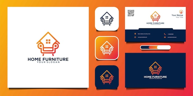 Home furniture logo design with lines and business card premium vectors