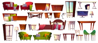 Home furniture of bedroom and living room interior set illustration.