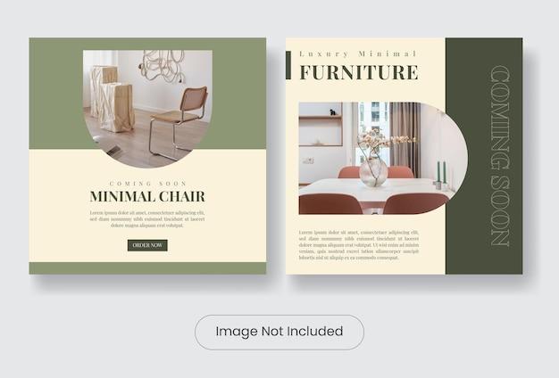 Home furniture social instagram banner template set