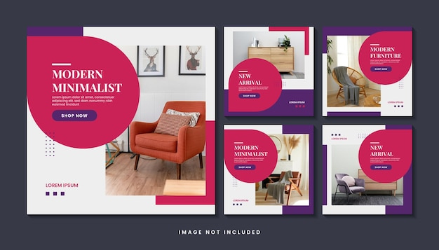 Home furniture social media post template set