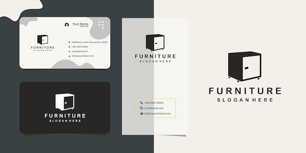 Home furniture store design logo and business card