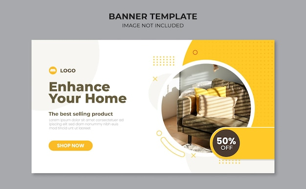 Home furniture web banner design template
