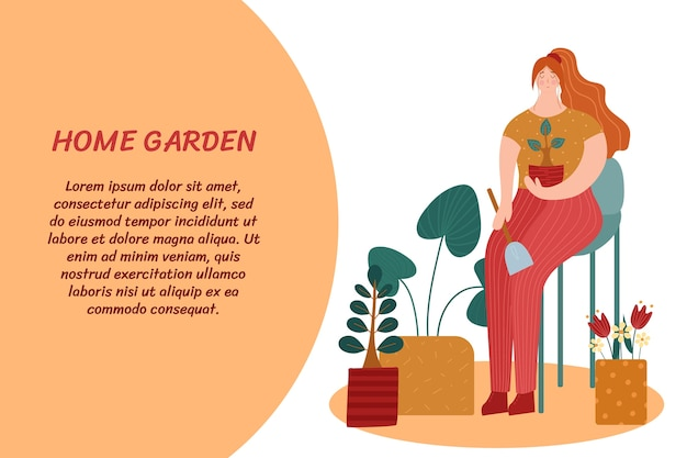 Дом и сад. женщина, ухаживающая за растениями. иллюстрация с местом для текста.