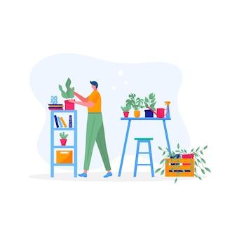 집 정원 개념입니다. 잎이 있는 식물을 들고 있는 청년, 꽃을 돌보고, 물을 주고, 심고, 경작합니다. 꽃의 삽화, 취미를 즐기는 사람들과 함께 냄비에 있는 식물. 벡터