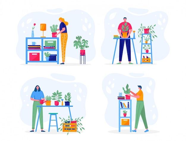 ホームガーデンのコンセプトです。葉を持つ植物を保持している若い人たちは、花の世話、水やり、植栽、栽培をしています。
