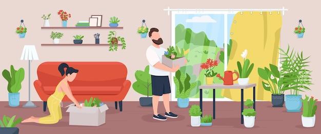 ホームガーデンフラットカラーイラスト。家族は植物を栽培し、世話をします